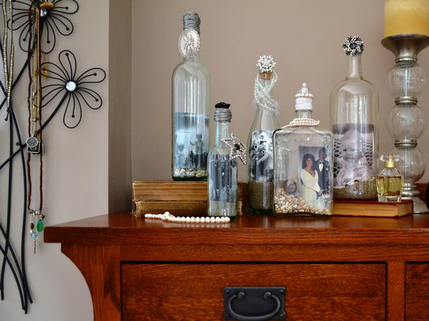 Glass bottle picture frame
