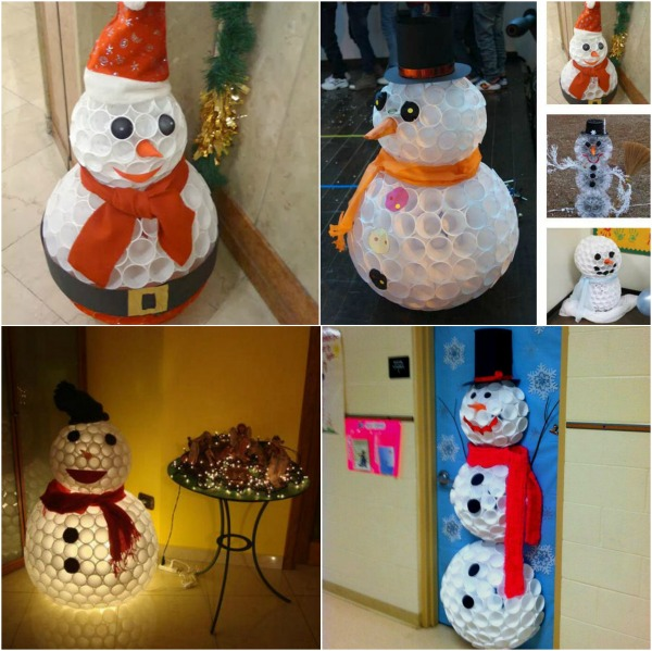 How to make snowman out of plastic cups