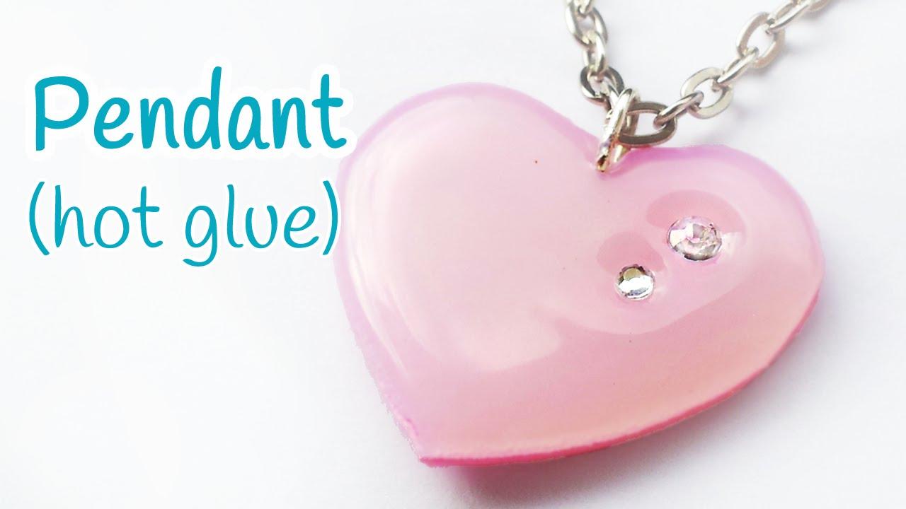 , DIY hot glue heart pendant
