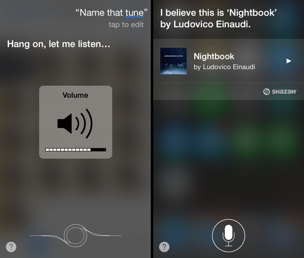 siri and shazam identifying song