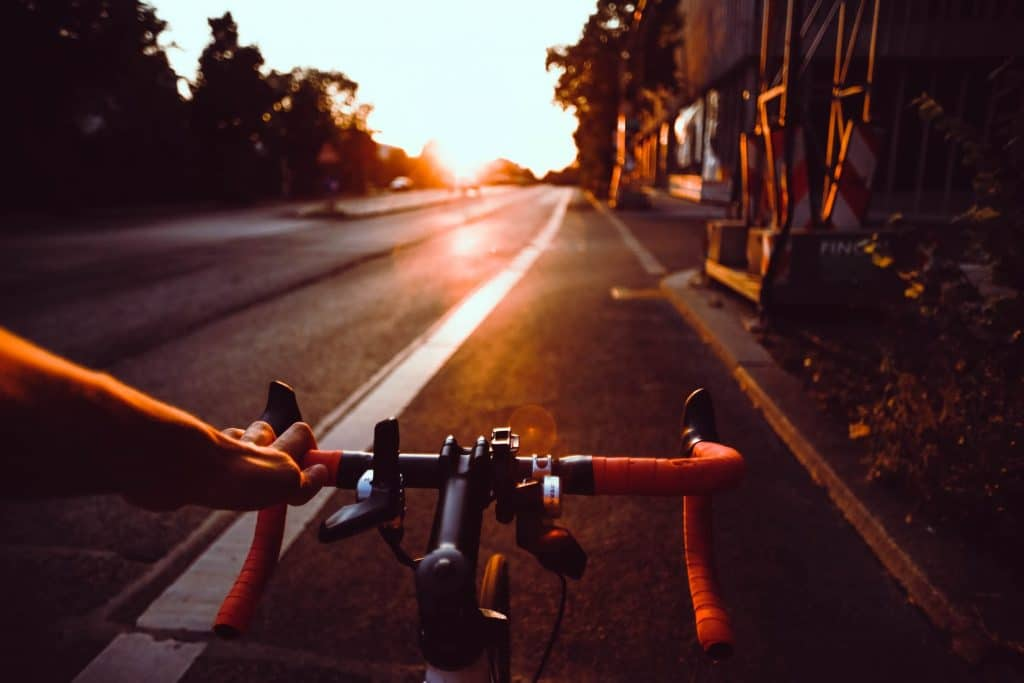 bike riding down the road