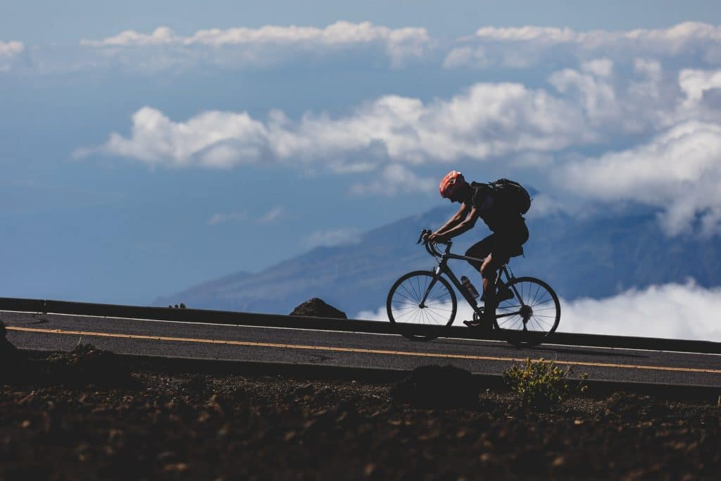 bike riding uphill